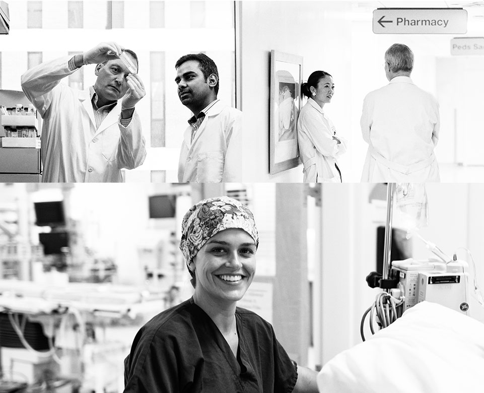 Collage of MUSC doctors, nurses and researchers at work